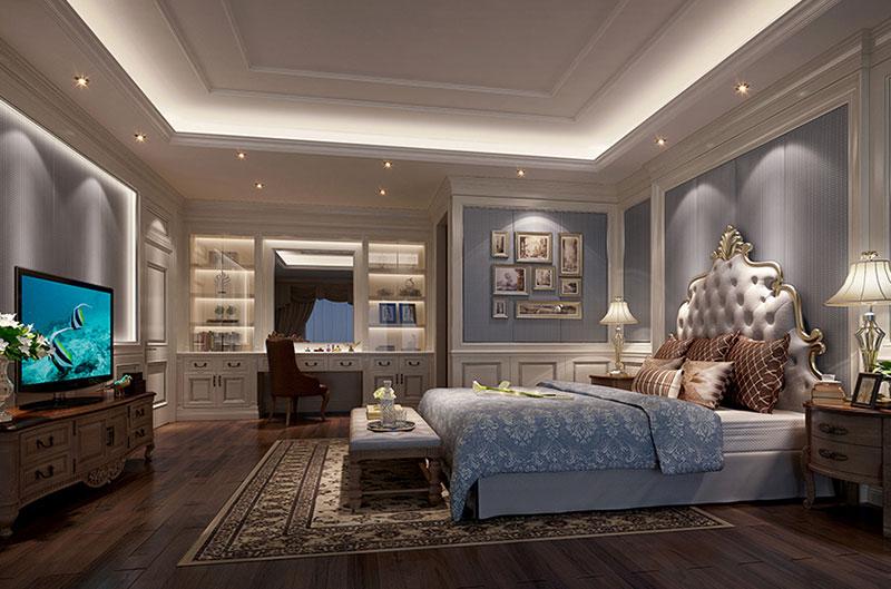 主卧室: ↑↑↑主卧以淡雅的蓝灰色系呼应英式古典,在静谧的古典氛围